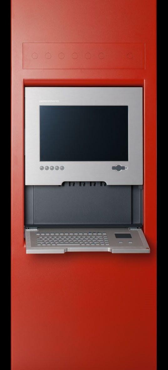 Rotes Bediengehäuse einer Maschinen-Bedieneinheit mit Display und ausklappbarer Tastatur.