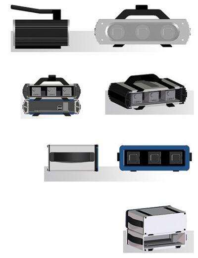 Verschiedene Designvorschläge als 3D-Render eines Gehäuses für eine 3D-Kamera