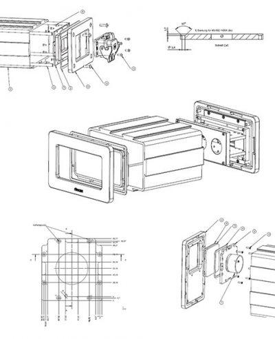 CAD-Konstruktionszeichnungen und Explosionszeichnungen eines Gehäuses für einen 3D-Scanner aus verschiedenen Winkeln.