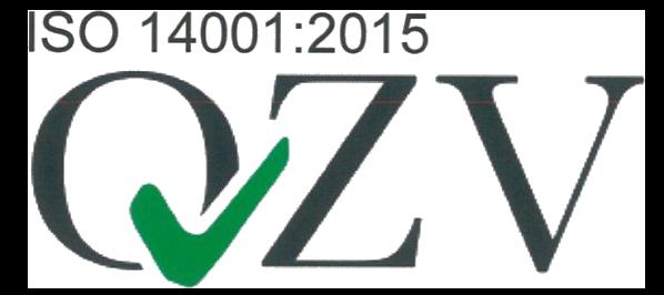 Logo der ISO 14001:2015 Zertifizierung durch QVZ