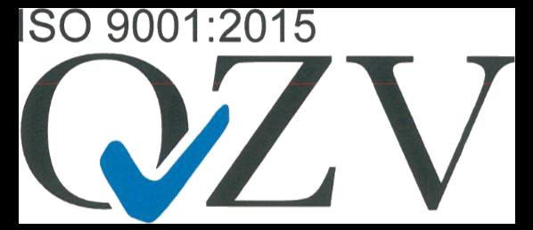 Logo der ISO 9001:2015 Zertifizierung durch QVZ