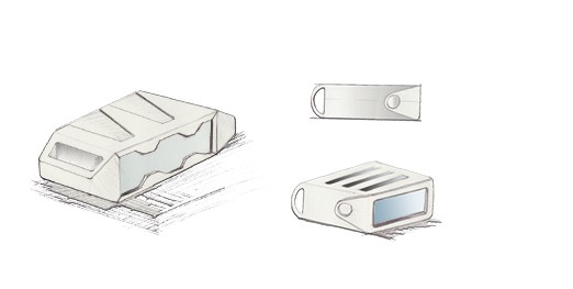 Bleistiftskizzen eines Gehäuses für eine 3D-Kamera mit Tragegriffen und Gummierung für Sicherheit und Robustheit.