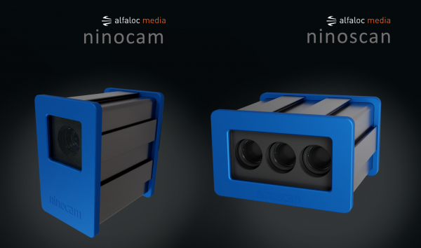 Produktfoto eines 3D-Scanners mit blauer Front vor einem schwarzen Hintergrund.