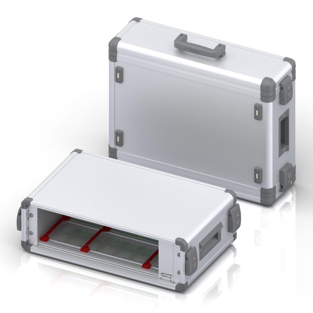 """Kofferförmiges, mobiles 19""""-Zoll Gehäuse mit integrierter Batterie für mobilen Einsatz"""