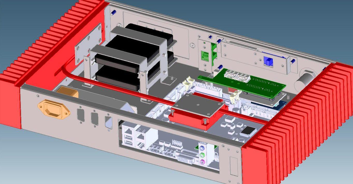 CAD-Zeichnung eines Gehäuses mit roten Kühlrippen an den den Seiten und Heatpipes von den Kühlrippen zu einem Kühlkörper auf der Platine in der Mitte.