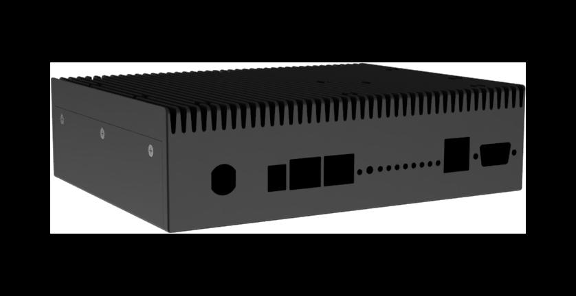 Renderbild einer schwarzen Super Cool-Box mit Kühlrippen auf dem Gehäusedeckel