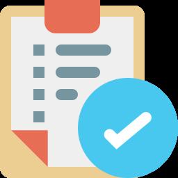Icon einer Checkliste mit einem weißen Pfeil auf einem blauen Kreis im Vordergrund.