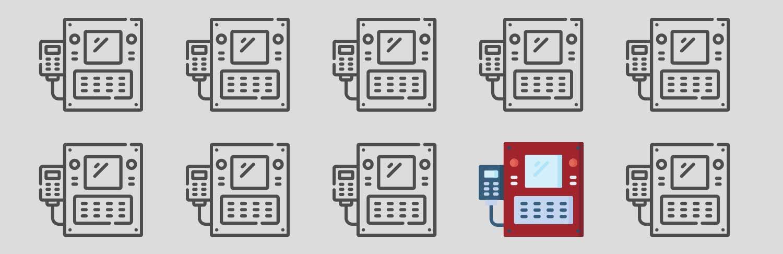 Zehn Icons von Maschinen voir einem grauen Hintergrund. Neun Maschinen sind grau, eine Maschine ist rot.