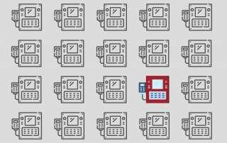 Viele Icons von Maschinen vor einem grauen Hintergrund. Alle bis auf eine Maschinen sind grau, die eine Maschine ist rot.