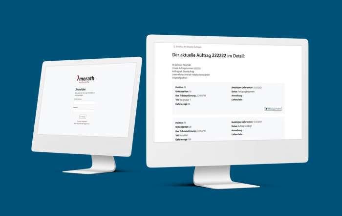 Zwei Bildschirme vor einem blauen Hintergrund auf denen Screenshots des merath Kundenportal abgebildet sind.