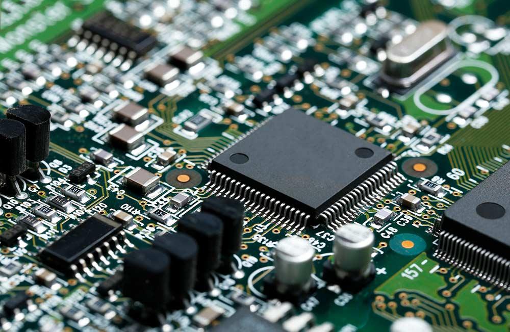 Leiterplatte mit elektronischen Bauteilen